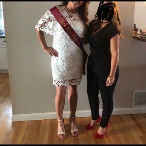 Just Me - white lace mini dress